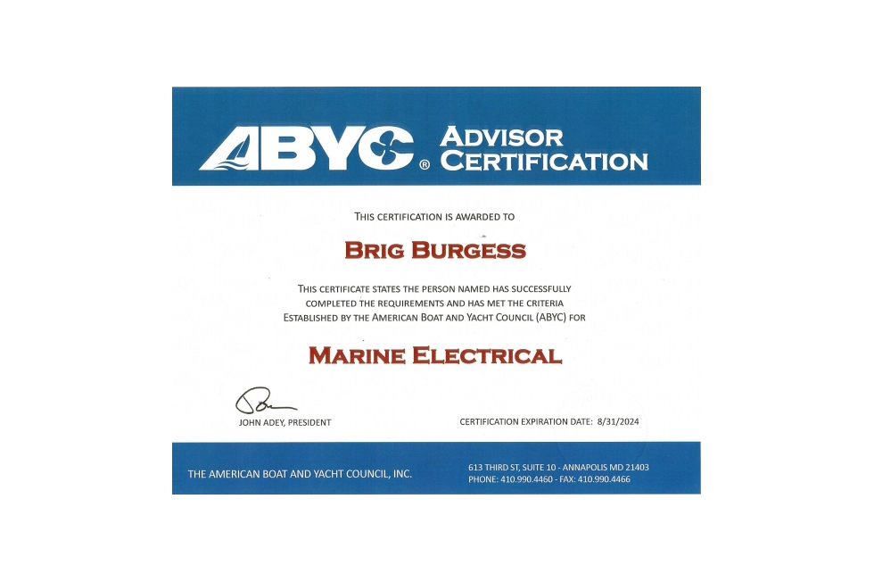 ABYC Marine Electrical E11 Certification.